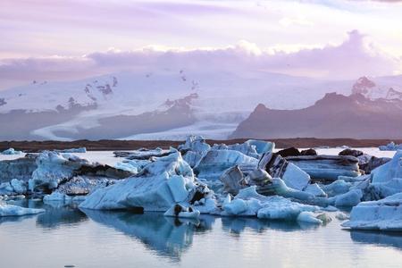 Icebergs in Jokulsarlon glacier lagoon in Iceland. Stock Photo