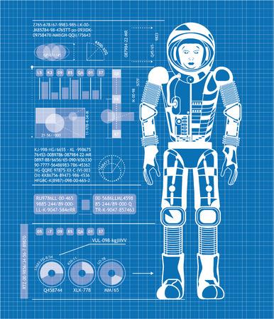 Blueprint of astronaut