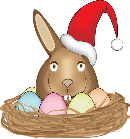 Easter bunny in nest, wearing santa claus hat