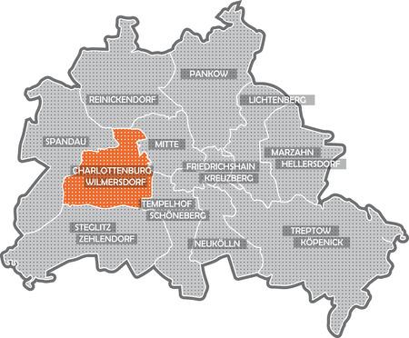 Carte de Berlin, se concentrer sur quartier de Charlottenburg - Wilmersdorf Banque d'images - 36374004