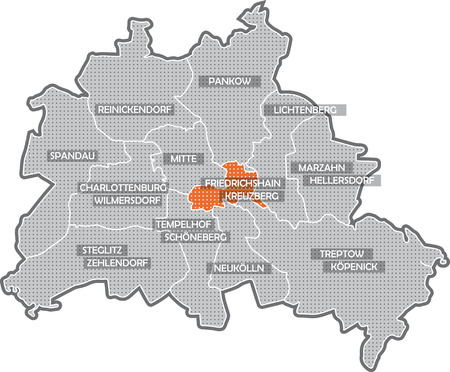 Karte von Berlin, Schwerpunkt Bezirk Friedrichshain - Kreuzberg