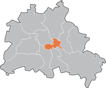 Carte de Berlin, se concentrer sur le quartier de Friedrichshain, Kreuzberg Banque d'images - 36374008