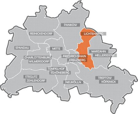 Carte de Berlin, se concentrer sur le quartier Lichtenberg Banque d'images - 36374009