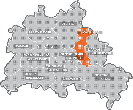 spandau: Map of Berlin, focus on district Lichtenberg