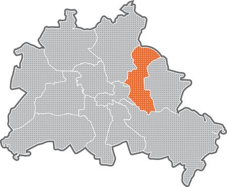 Carte de Berlin, se concentrer sur le quartier Lichtenberg Banque d'images - 36374010