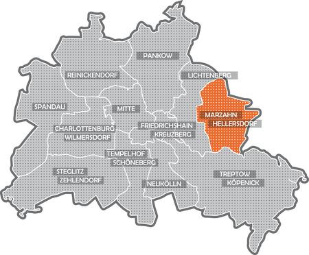 Karte von Berlin, Schwerpunkt Bezirk Marzahn - Hellers