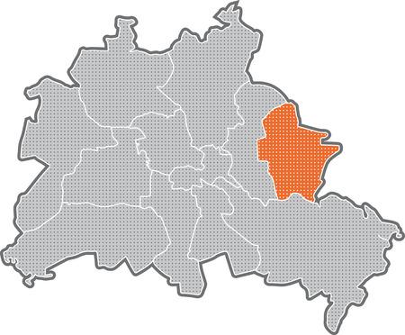 Map of Berlin, focus on district Marzahn - Hellersdorf