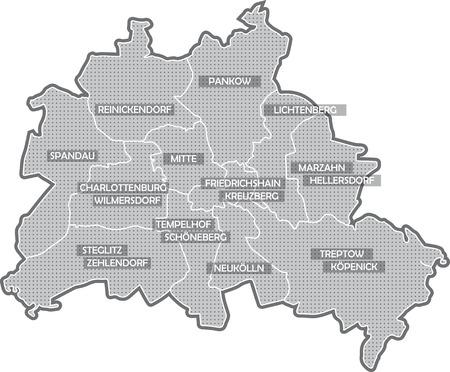 Carte de Berlin, tous les districts Banque d'images - 36374042