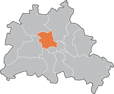 Carte de Berlin, se concentrer sur le quartier Mitte Banque d'images - 36374043