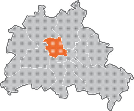 Map of Berlin, focus on district Mitte Stock Photo