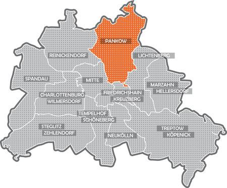 Carte de Berlin, se concentrer sur Pankow de district Banque d'images - 36374045