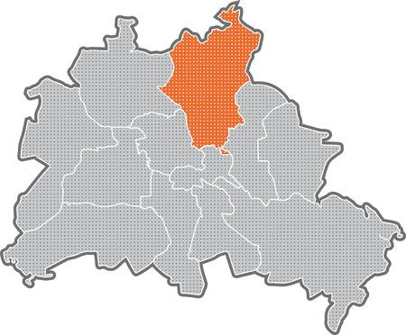 Carte de Berlin, se concentrer sur Pankow de district Banque d'images - 36374047