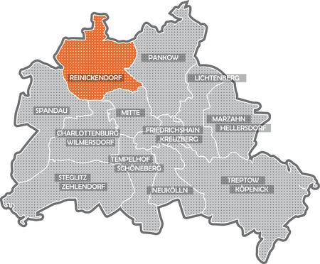 Carte de Berlin, se concentrer sur quartier de Reinickendorf Banque d'images - 36374046