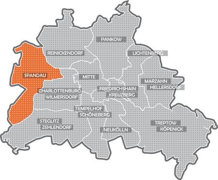 Carte de Berlin, se concentrer sur le quartier de Spandau Banque d'images - 36374049