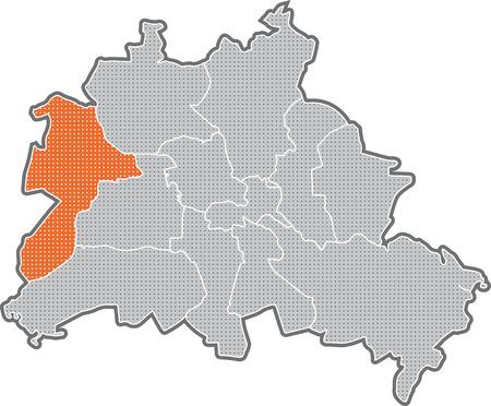 Carte de Berlin, se concentrer sur le quartier de Spandau Banque d'images - 36374050