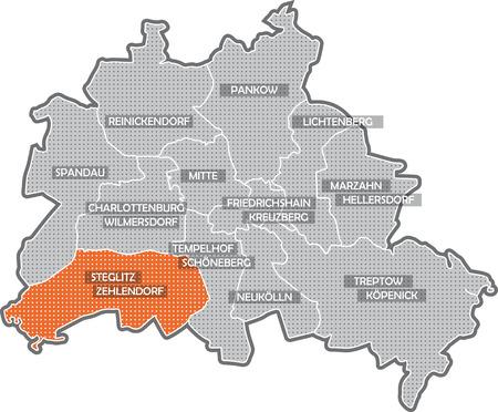 sch: Map of Berlin, focus on district Steglitz Zehlendorf Stock Photo