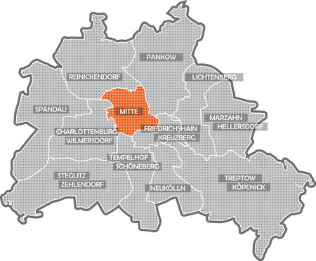 marzahn: Map of Berlin, focus on district Mitte Stock Photo
