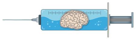 Seringue avec un liquide contenant un cerveau / intelligence Banque d'images - 36374139