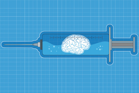 Syringe with a liquid containing a brain / intelligence
