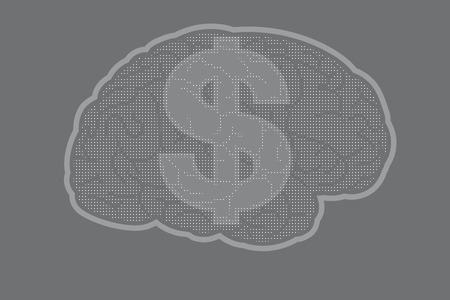 Cérébrale avec le signe du dollar US Banque d'images - 39449057