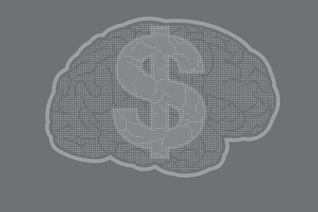 Brain with US dollar sign
