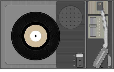 Retro record player with 45 rpm record