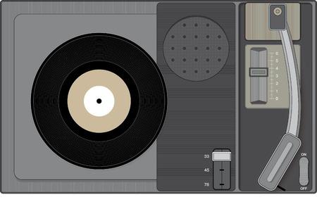 analogous: Retro record player with 45 rpm record