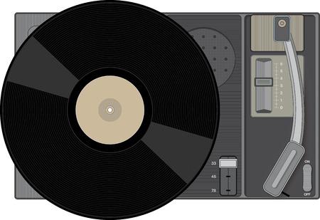 Retro record player with 33 rpm record