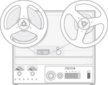 Magnétophone style rétro Banque d'images - 55747513