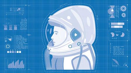 Blueprint illustration of astronaut