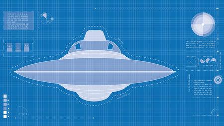 Blueprint illustration of UFO Stock Photo
