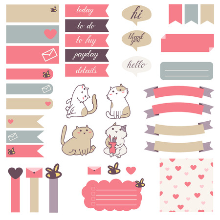 planner: Cute cats and heart pattern in pastel pink, beige and gray.Stickers for organized planner. Template for planner, scrapbooking, wrapping, wedding invitation, notebooks, diary.