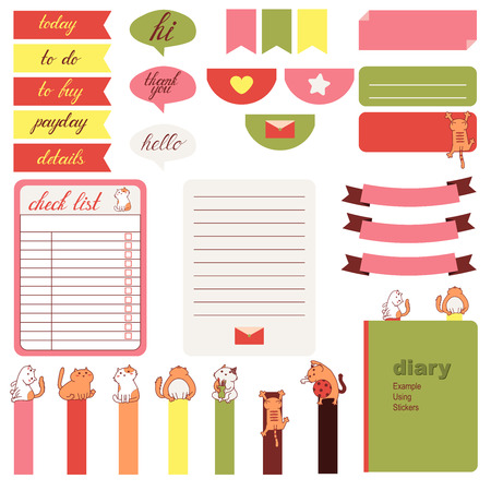 pink wedding: Cute cats and heart pattern in pastel pink, beige and gray.Stickers for organized planner. Template for planner, scrapbooking, wrapping, wedding invitation, notebooks, diary.