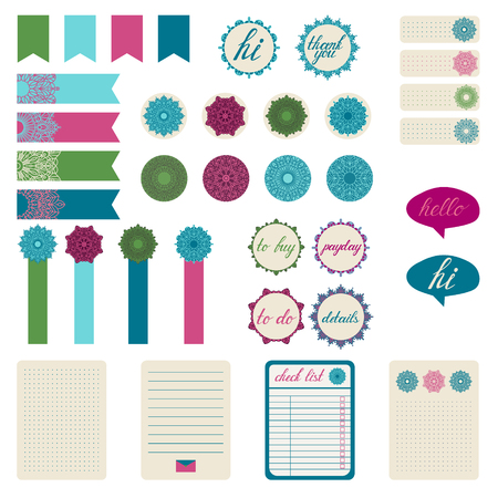 scrapbook elements: Set of different stickers with the mandala. Stickers for organized planner. Template for planner, scrapbooking, wrapping, wedding invitation, notebooks, diary.