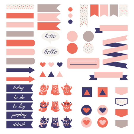 pink wedding: Cute owls and triangle pattern in pastel pink, beige and blue. Stickers for organized planner. Template for planner, scrapbooking, wrapping, wedding invitation, notebooks, diary.