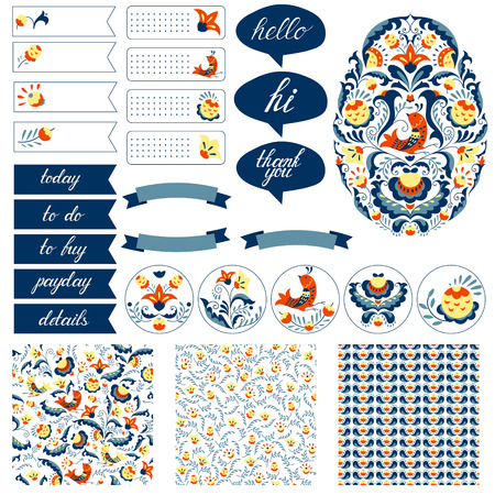 planner: Stickers for organized planner. Cute spot graphics and doodle flower and bird patterns. Template for planner, scrapbooking, wrapping, wedding invitation, notebooks, diary.