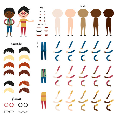 Boy. Parts of body template for design work. Face and body elements. Different human skin colors. Different hairstyles and hair colors. Different clothing options. Vector illustration. Set