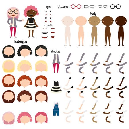 Niña. Las partes del cuerpo de plantilla para el trabajo de diseño. Faciales y corporales elementos. Los diferentes colores de piel humana. peinados y colores de pelo diferentes. Diferentes opciones de ropa. Ilustración del vector. Conjunto