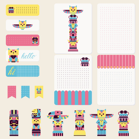 planner: Cute totem animals. Creative cards, tape, stickers, labels, printable card for organized planner. Template for planner, scrapbooking, wrapping, wedding invitation, notebooks, diary, journals Card. Illustration