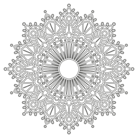 Coloring page with mandala. Ethnic decorative elements. Coloring book for adult and older children. Outline illustration. It can be used as a print for t shirts.