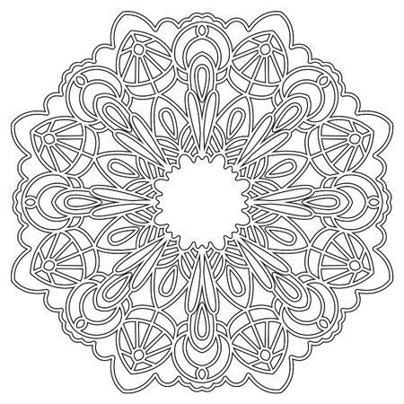 t shirts: Coloring page with mandala. Ethnic decorative elements. Coloring book for adult and older children. Outline illustration. It can be used as a print for t shirts.