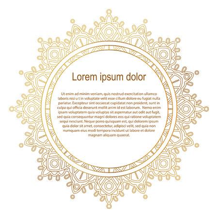 Round cadre de bordure d'or. ornement Mandala. Peut être utilisé pour la décoration et le design cadre photo, menu, carte, album, album. Vector Illustration. Fond blanc. Banque d'images - 56878285