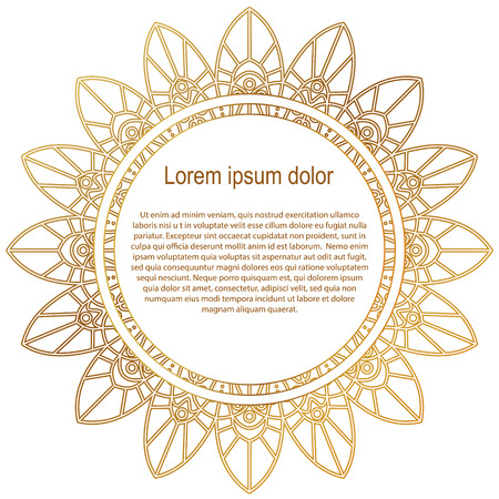 Round gold border frame. Mandala ornament. Can be used for decoration and design photo frame, menu, card, scrapbook, album. Vector Illustration. White background. Illustration