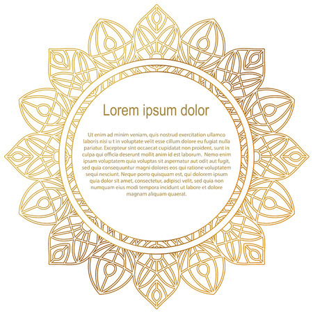 mixed family: Round gold border frame. Mandala ornament. Can be used for decoration and design photo frame, menu, card, scrapbook, album. Vector Illustration. White background. Illustration