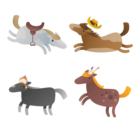 Illustration of the four cartoon horses on a white background. Clip art vector illustration