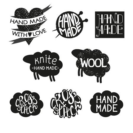punto de cruz: Conjunto de diferentes estilos hechos a mano elementos de dise�o de logotipos y etiquetas. Hecho a mano, hecho con amor, punto de cruz ilustraci�n vectorial