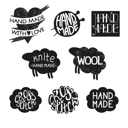 punto de cruz: Set of different styles hand made logotypes design elements and labels. Hand made, made with love, cross-stitch Vector illustration
