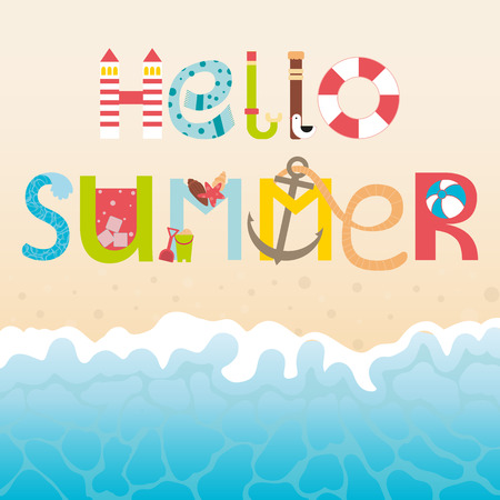 wave hello: Vector lettering Hello summer with decorative elements. Cartoon type. Vector summer background with summer elements. Letters, wave, sand. Flat illustrations.