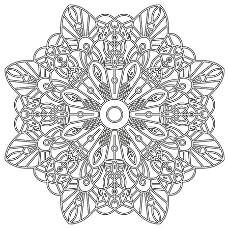 t shirts: Coloring page with mandala. Ethnic decorative elements. Coloring book for adult and older children. Outline vector illustration. It can be used as a print for t shirts.