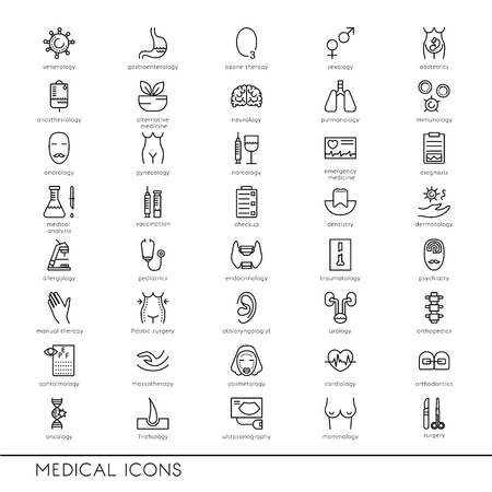 Vector line icons with medical symbols. Medical professions. Line icons of narcology, cosmetology, obstetrics, medical testing and other. Illustration